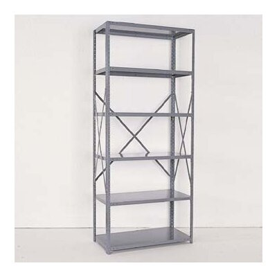 Republic Industrial Clip Open Shelving: Angle Post Units with 6 Shelf Frames; Adder Unit
