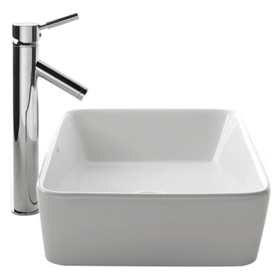 Kraus Ceramic Square Vessel Bathroom Sink