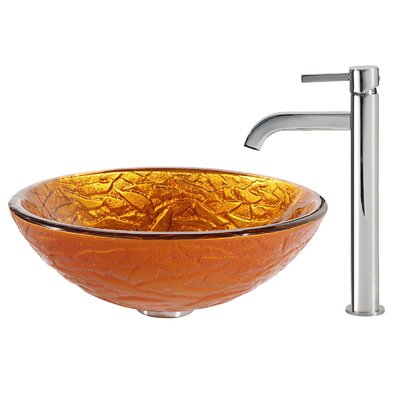 Blaze Glass Vessel Sink with Ramus Faucet - C-GV-392-19mm-1007