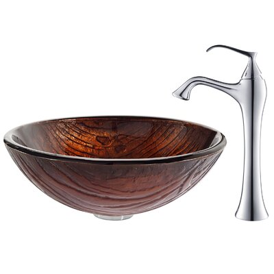 Kraus Titania Glass Vessel Sink with Ventus Faucet