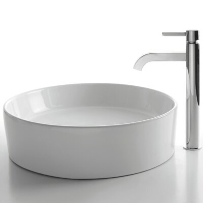 Kraus Ceramic Round Bathroom Sink with Ramus Single Lever Faucet