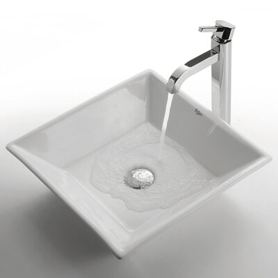 Ceramic Square Bathroom Sink with Ramus Single Lever Faucet - C-KCV-125-1007