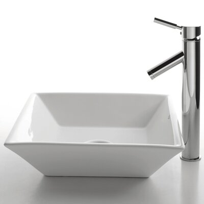 Ceramic Square Bathroom Sink with Sheven Single Lever Faucet - C-KCV-125-1002