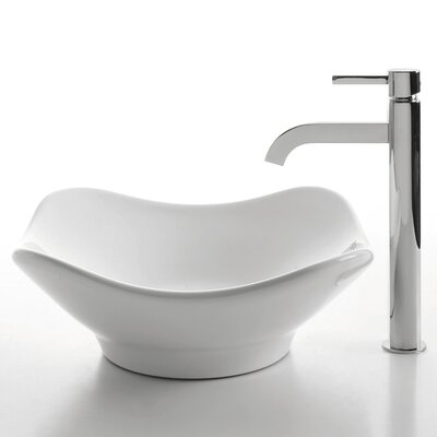 Ceramic Tulip Bathroom Sink with Ramus Single Lever Faucet - C-KCV-135-1007