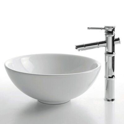 Kraus Ceramic Round Bathroom Sink with Bamboo Single Lever Faucet