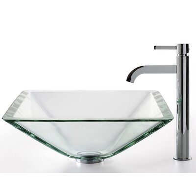Kraus Square Aquamarine Glass Sink and Ramus Faucet