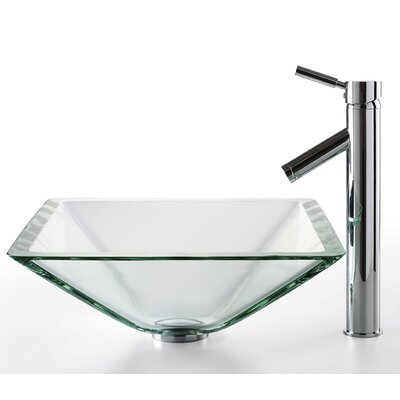 Kraus Square Clear Aquamarine Glass Sink and Sheven Faucet