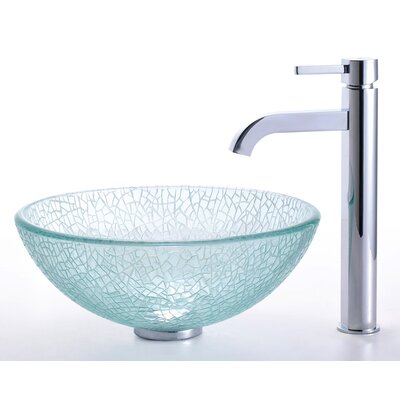 "Kraus Broken Glass 14"" Vessel Sink and Ramus Faucet"