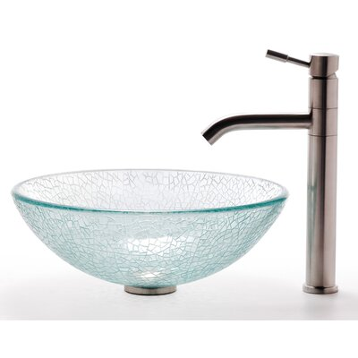 Broken Glass Vessel Sink and Aldo Faucet - C-GV-500-12mm-2180