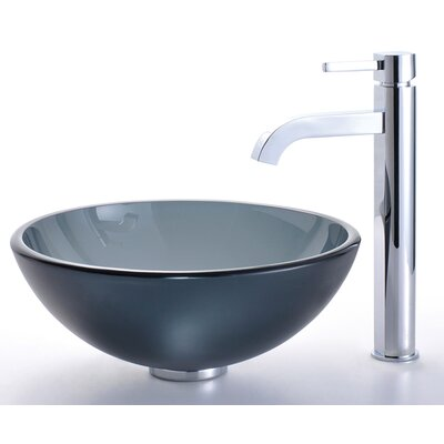 Glass Vessel Sink and Ramus Faucet - C-GV-104FR-14-12mm-1007