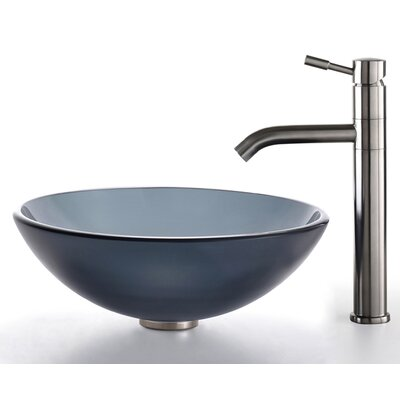 Kraus Glass Vessel Sink and Aldo Faucet
