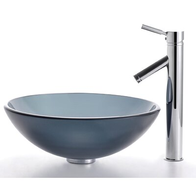 Glass Vessel Sink and Sheven Faucet - C-GV-104FR-12mm-1002
