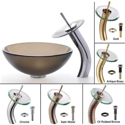 "Kraus Frosted Brown 14"" Glass Vessel Sink and Waterfall Faucet"