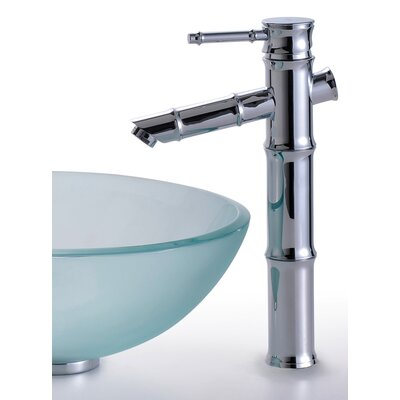 Kraus Frosted Glass Vessel Sink and Rivera Faucet