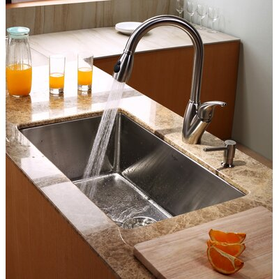 "Kraus Undermount 30"" Kitchen Sink with Faucet and Soap Dispenser"