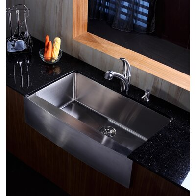 "Kraus Farmhouse 36"" Kitchen Sink with Faucet and Soap Dispenser"