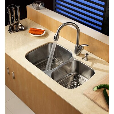 "Kraus  Stainless Steel Undermount 32"" Double Bowl Kitchen Sink with Kitchen Faucet and Soap Dispenser"