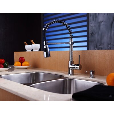 "Kraus 32"" Undermount 60/40 Double Bowl Kitchen Sink with 20"" Faucet and Soap Dispenser"