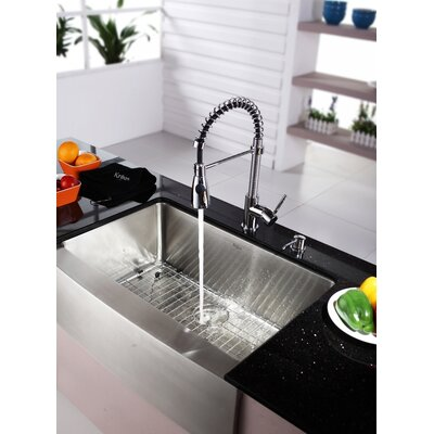 "Kraus Farmhouse 30"" Kitchen Sink with Faucet and Soap Dispenser"