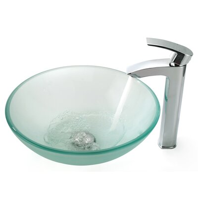 Frosted Vessel Sink and Visio Bathroom Faucet - C-GV-10