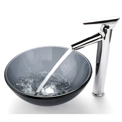 "Kraus Frosted 14"" Vessel Sink and Decus Bathroom Faucet"