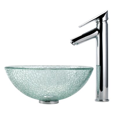 "Kraus Broken Glass 14"" Vessel Sink and Decus Bathroom Faucet in Chrome"