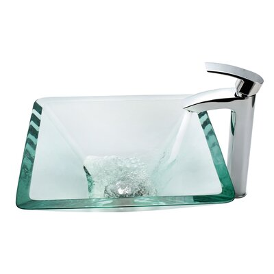 Aquamarine Glass Vessel Sink and Visio Bathroom Faucet in Chrome - C-GVS-901