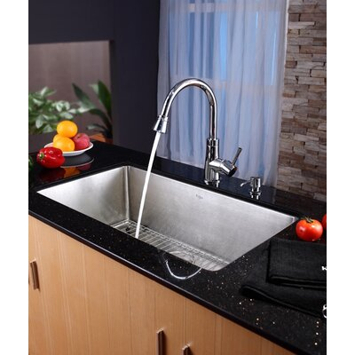 "Kraus 32"" Undermount Single Bowl Kitchen Sink with 14.9"" Faucet and Soap Dispenser"