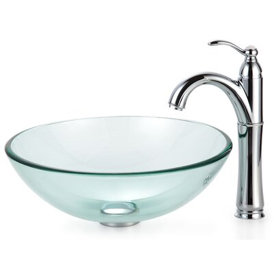 Kraus Clear Glass Vessel Sink and Rivera Faucet