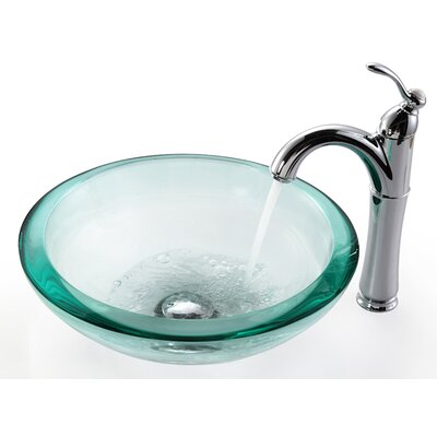 """Kraus Clear Glass 0.75"""" Vessel Sink and Rivera Faucet"""