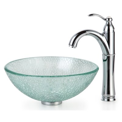 Kraus Broken Glass Vessel Bathroom Sink with Faucet