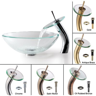 Kraus Clear Glass Sink and Waterfall Faucet