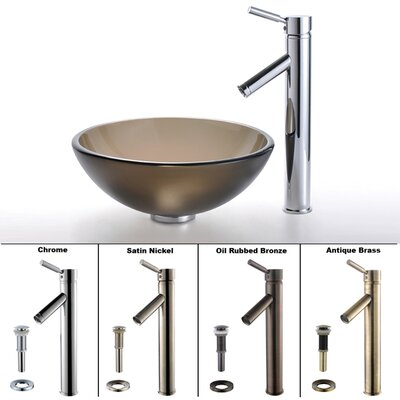 "Kraus Frosted Brown 14"" Glass Vessel Sink and Sheven Faucet"
