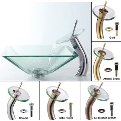 Kraus Glass Sink Combinations Aquamarine Square Vessel and Waterfall Faucet
