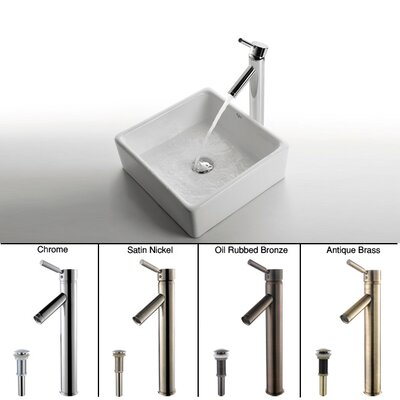 Kraus Ceramic Square Vessel Bathroom Sink and Sheven Faucet