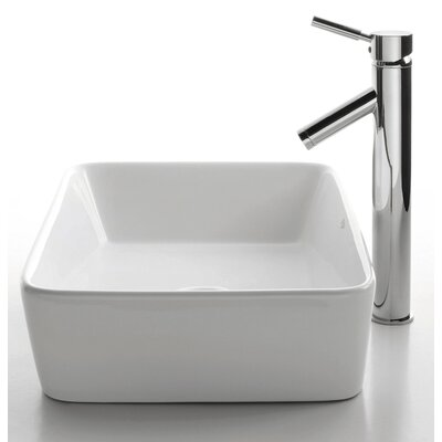 "Kraus Ceramic 5"" x 15"" Rectangular Sink in White with Sheven Single Lever Faucet"