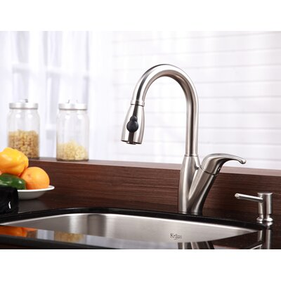 Kraus One Handle Single Hole Kitchen Faucet with Pull Out Sprayer