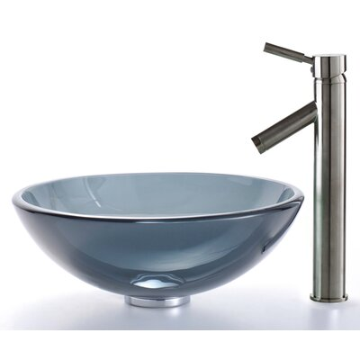 Kraus Clear Black Glass Vessel Sink and Sheven Faucet