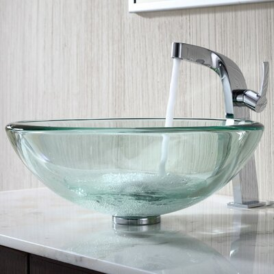 Kraus Clear 19Mm Thick Glass Vessel Sink and Single Hole Faucet with Single Handle