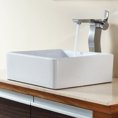 Kraus Combos Square Ceramic Sink and Single Hole Faucet with Single Hande
