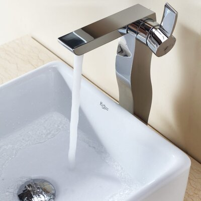 Kraus Bathroom Combos Square Ceramic Bathroom Sink with Single Handle Single Hole Faucet