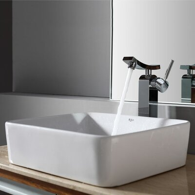 Bathroom Combos Rectangular Ceramic Bathroom Sink with Single Handle Single Hole Faucet - ...