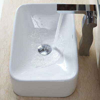 Kraus Combos Rectangular Ceramic Sink and Single Hole Faucet with Single Hande