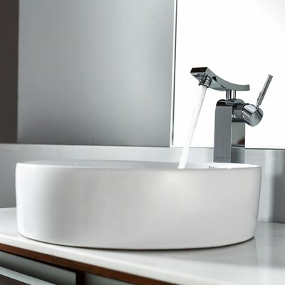 Kraus Combos Round Ceramic Sink and Single Hole Faucet with Single Hande