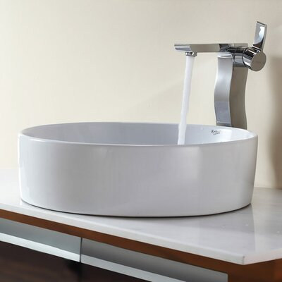 Bathroom Combos Round Ceramic Bathroom Sink with Single Handle Single Hole Faucet - ...