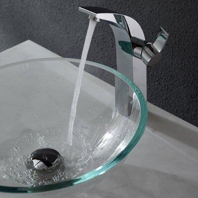 Kraus Crystal Clear Glass Vessel Sink and Illusio Faucet