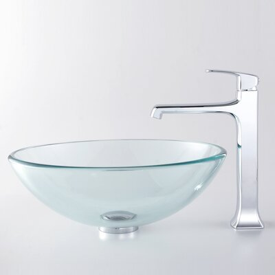 Decorum Vessel Bathroom Sink with Faucet - C-GV-10X-12mm-15200CH