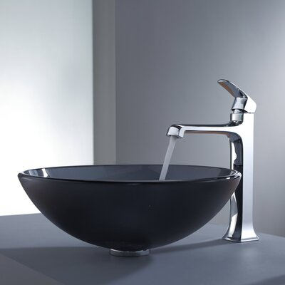 Kraus Decorum Glass Vessel Bathroom Sink with Faucet