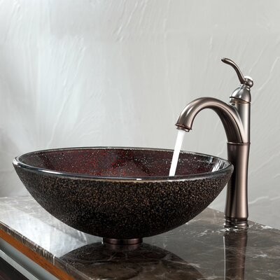 Callisto Glass Vessel Sink and Riviera Faucet - C-GV-570-12mm-1005