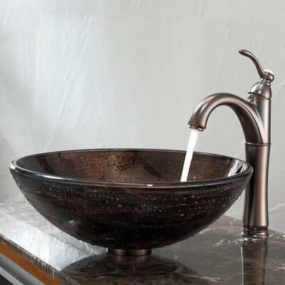 Copper Illusion Glass Vessel Bathroom Sink with Riviera Faucet - C-GV-580-12mm-1005ORB